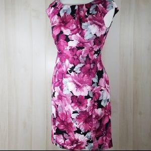 Jones New York Floral Cap Sleeve Sheath Dres